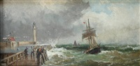 fishing boat off a pier in rough seas (+ beached boat with figures; pair) by robert ernest roe