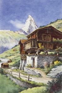 landschaft mit häusern und dem matterhorn im hintergrund by ulrich gutersohn