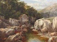 angler beside a mountain stream by james burrell smith