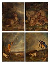 satz von vier jagdlichen gemälden (set of 4) by hans kratzer
