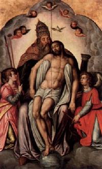 kristus och fadern flankerad av två änglar by frans denys