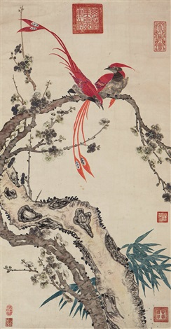 绶带梅花 bird and plum by empress dowager cixi
