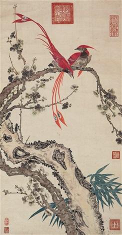 绶带梅花 bird and plum by empress dowager cixi