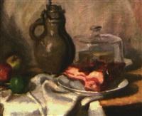 stilleben mit früchten, rauchfleisch und krug by erwin henning