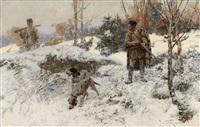 winterliche jagdszene by jaroslav friedrich julius vesin