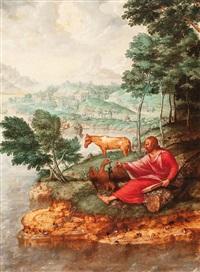 san juan evangelista en patmos by jan (joannes sinapius) mostaert