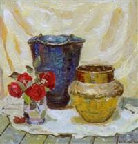 opstilling på et bord med roser og vaser by matthias m. peschcke-køedt