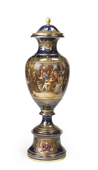 baluster vase and cover (christopher columbus returning from the new world) by seller and eistner (co.)