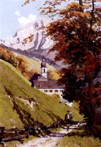 spätsommerliche alpenlandschaft mit kirchlein und jäger auf dem weg by leonore (leo) hiller-baumann