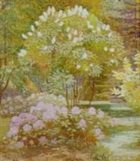haveeksterior, i forgrunden en rhododendronbusk by matthias m. peschcke-køedt