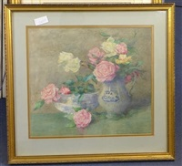 still life of roses in a glass bowl and a jug by constance walton