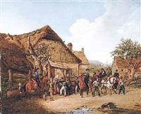soldaten im dorf. russische und polnische kavallerie durchziehen ein dorf by karl wilhelm von heideck