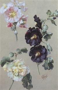 studienblatt mit pfirsichblüten und blühenden stockrosen by otto eduard voigt