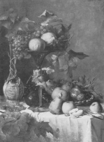 stilleben mit weintrauben äpfeln birnen und zitrusfrüchten by anthonie boubong
