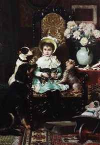 doddy and her pets; a portrait of the daughter of j. rolls hoare esq, artist label verso by charles trevor garland