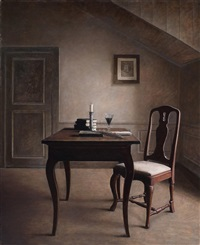 阁楼下的书桌 (a desk in the loft) by jiang xiangdong