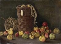 stillleben mit äpfeln auf einer tischplatte vor zwei körben by george m. leonard