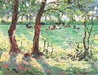 kühe in sommerlicher landschaft by johannes wilhelm van der heide