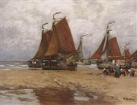fischmarkt am strand bei katwijk by wilhelm bartsch