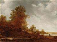 holländische flußlandschaft mit gehöft und anglern am ufer by jacob van mosscher