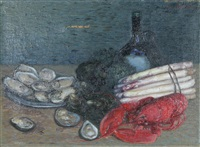 stilleben med skaldjur och sparris by eva åström