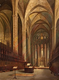 interior de la catedral de barcelona by achile battiztuzzi