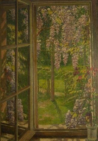 am fenster blick auf einen frühlingsgarten mit blühenden glyzinien by august blunck