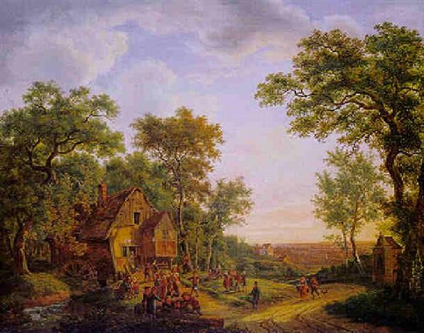 romantische waldlandschaft mit alter wassermühle unter bäumen by maximilien lambert gelissen