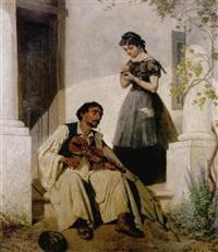 geigespielender zigeuner an den stufen eines hauses by carl von kratzer