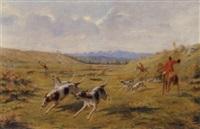 jagtscene med glammende hunde by edmond assier de latour