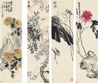 花卉四屏 (flowers) (4 works) by wu changshuo
