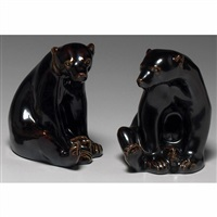 pair of seated bear bookends by louise abel