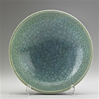 bowl in crackled and indigo by glen lukens