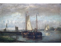 boats in a dutch river landscape (pair) by hendrik hulk