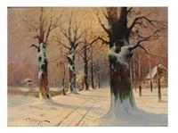 winterliche waldlandschaft im sonnigen licht by franz waldegg