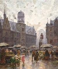 regnerischer tag auf dem blumenmarkt by charles vetter