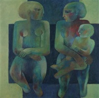 two seated female nudes with child by khaled almaz