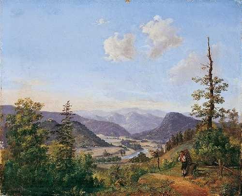 berglandschaft mit einem vogelhändler by julius abbiati