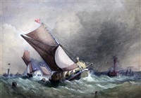 sail barges in a heavy sea by edward william cooke