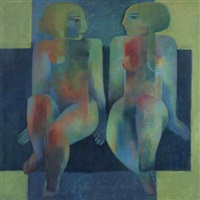 two seated female nudes by khaled almaz