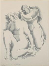 two kneeling women by alexander archipenko