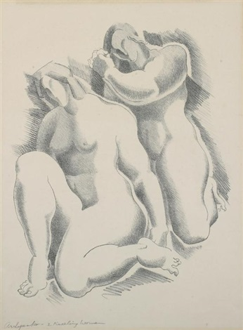 two kneeling women by alexander archipenko