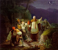 nächtliche szene in den alpen by johann baptist pfretzschner