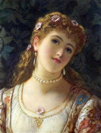 portrait of a girl wearing daisies in her hair by augustus jules bouvier
