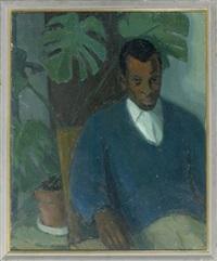 portrait eines sitzenden herren neben einer zimmerpalme by gottfried fabian