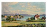 blick über den malerwinkel auf villa, wasserburg und gebirgssilhouette an einem prachtvollen frühlingstag by franz löffler