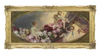 putti with flowers by franz wobring