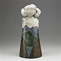 and raku-fired sculptural vessel with cover by wayne higby