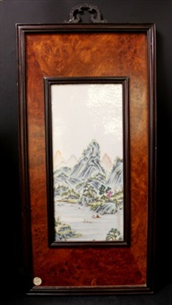 a chinese famille rose porcelain painting with hard wood by anonymous-chinese (qing dynasty)
