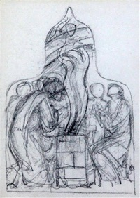 study for a church window; the sacrifice of noah, preliminary sketch for a light in the tower west window at st. chads church, rochdale, lancs. by edward burne-jones